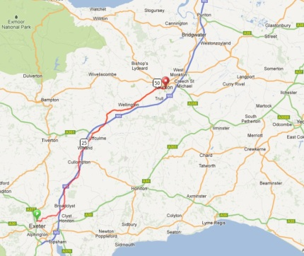 Exeter to Taunton