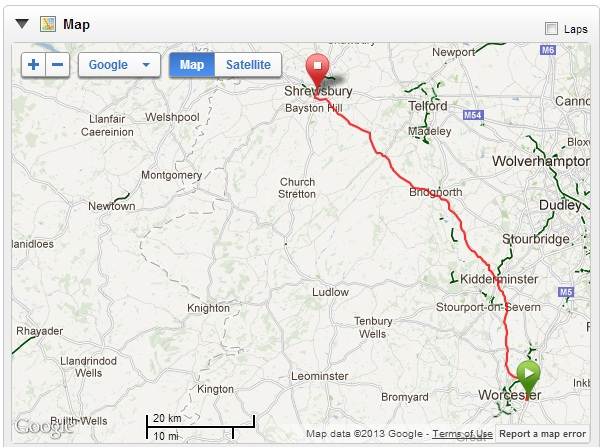Map - Worcester - Shrewsbury