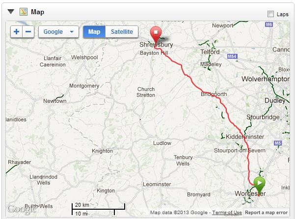 Map - Worcester - Shrewsbury