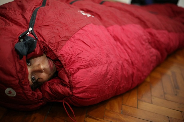Nat in one of our -40C sleeping bags - comfy!  Shouldn't get quite so cold, but once we are on the poles, this will be nice to have!