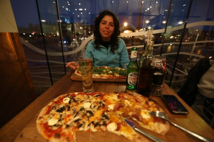 Enjoying a large meal at Zizzi