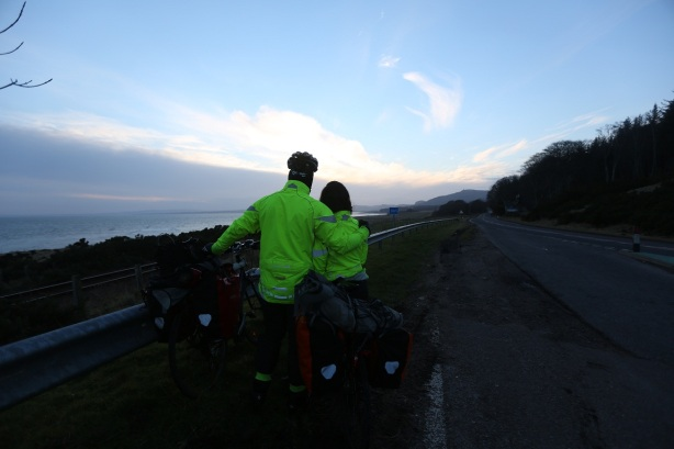 Enjoying the view along the coast at dusk