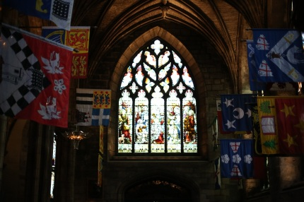 The windows and flags of St. Giles