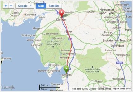 Lancaster - Carlisle - map