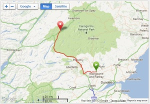 The route from Blairgowrie to Newtonmore