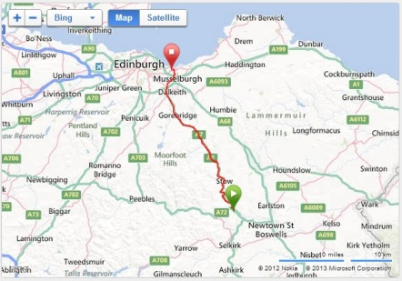 Map - Galashiels - Edinburgh