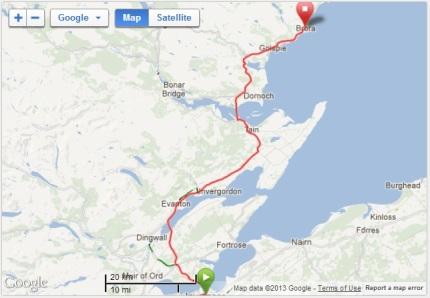 Map - Inverness - Brora