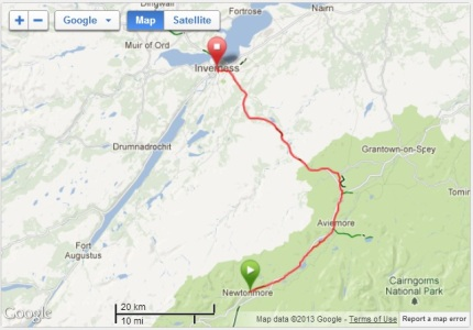 The route from Newtonmore to Inverness