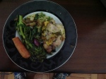 Peito de Frango Assado com Cenouras, Brocolis Cozido e Cuzcuz de Abobrinha